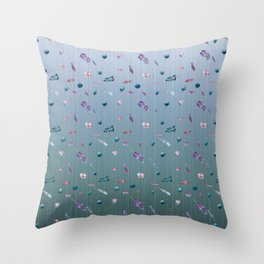 Dancing Blueberries and Lavender Throw Pillow