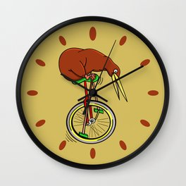 Kiwi Riding A Unicycle Wall Clock