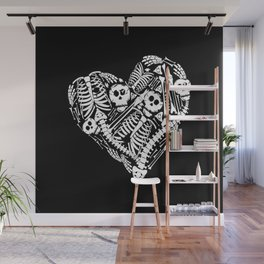 Skeletal Love Heart  (Black) Skulls and Bones Wall Mural