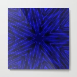 Deep Blue Paper Snowflakes Metal Print
