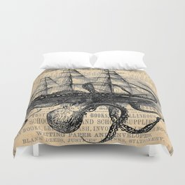 Octopus Kraken attacking Ship Antique Almanac Paper Duvet Cover