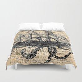 Octopus Kraken attacking Ship Antique Almanac Paper Duvet Cover
