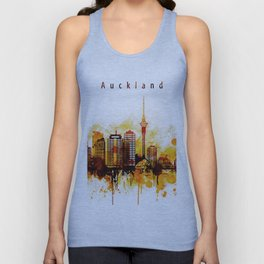 Auckland New Zealand Red Yellow Skyline Unisex Tank Top