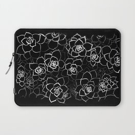 White ink. graphic with white ink and black cardboard. flowers Laptop Sleeve