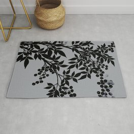 TREE BRANCHES BLACK AND GRAY LEAVES AND BERRIES Rug