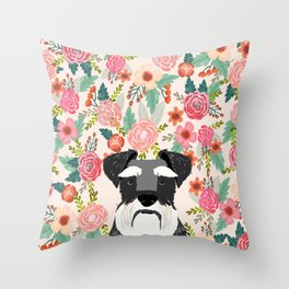 Schnauzer dog head floral background flower schnauzers pet portrait Throw Pillow