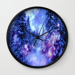 Mystical Snow Winter Forest Wall Clock