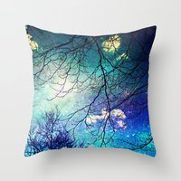 night sky Throw Pillows featuring night sky by Sylvia Cook Photography
