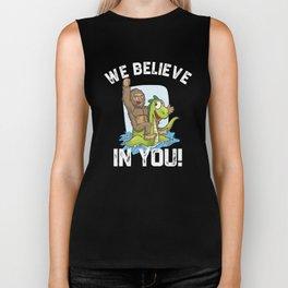 Bigfoot Riding Nessie We Believe in You Loch Ness Biker Tank