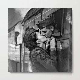 The Kiss - The Last Goodbye - Lovers kissing goodbye through open window on train black and white photograph Metal Print