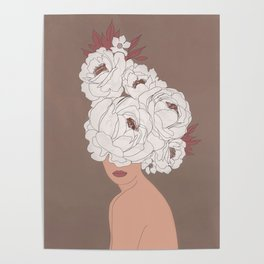 Woman with Peonies Poster