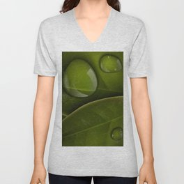 dew drops on green leaves Unisex V-Neck