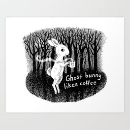 Ghost bunny likes coffee Art Print