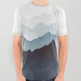 Indigo Mountains Landscape All Over Graphic Tee