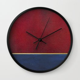 Deep Blue, Red And Gold Abstract Painting Wall Clock