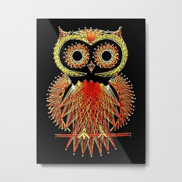 String Art Owl Metal Print