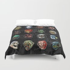 Horror Movie Monster Masks (color) Duvet Cover