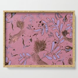 Pink fish pond Serving Tray