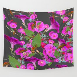 Decorative Pink Morning Glories on Grey Art Design Wall Tapestry