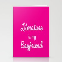 literature Stationery Cards featuring literature is my boyfriend pink by Beautiful Bibliophile's Boutique