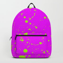 Neon Yellow Spray Splatters on Fuchsia Surface Backpack
