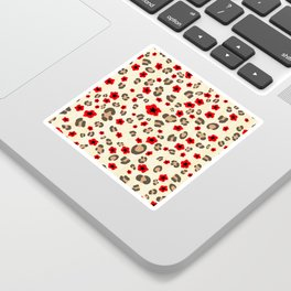 Romantic Leopard Print Pattern with Red Flowers Sticker