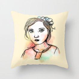 Ink Girl III Throw Pillow
