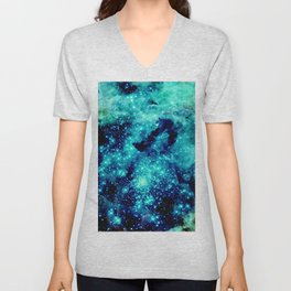 GALAXY. Teal Aqua Stars Unisex V-Neck