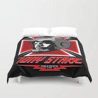 stark Duvet Covers featuring Tony Stark by Ant Atomic