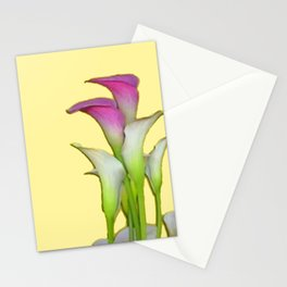 PURPLE & WHITE CALLA LILIES FLORAL YELLOW ART Stationery Cards
