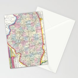 Vintage Map of Illinois (1861) Stationery Cards