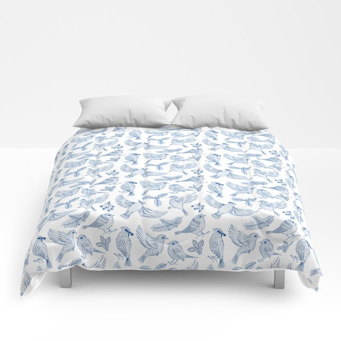 Winter Birds and Foliage Pattern (Blue) Comforters