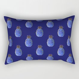 Blue and Golden Pineapple Fruit | Tropical Art | PetitPlat.fr Rectangular Pillow