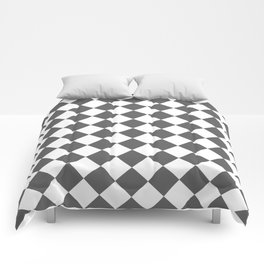 Diamonds - White and Dark Gray Comforters