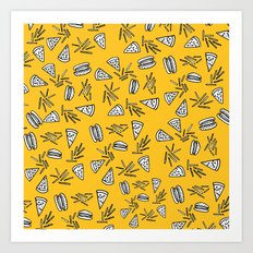 Burgers Pizza Fries and Cheese  Art Print