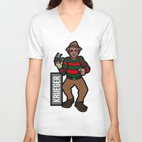 freddy krueger V-neck T-shirts featuring Freddy Krueger by AhamSandwich