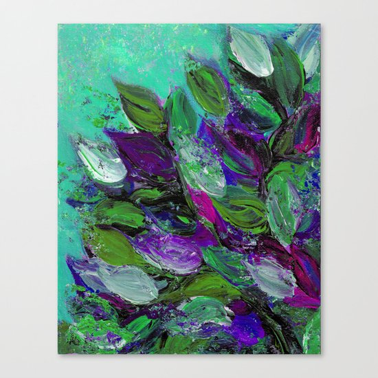BLOOMING BEAUTIFUL 1 - Floral Painting Mint Green Seafoam Purple White Leaves Petals Summer Flowers Canvas Print