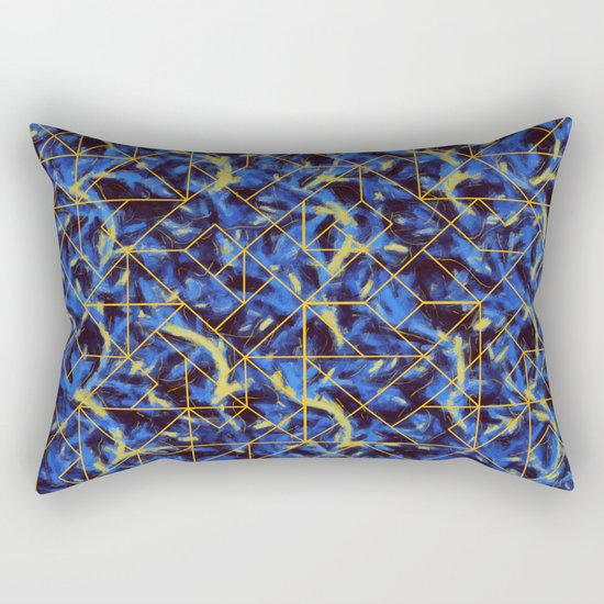 The Blue and Yellow Rectangular Pillow