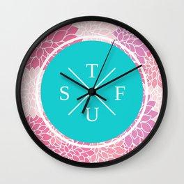 Flowery STFU Wall Clock