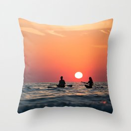 man woman boat rowing in sea Throw Pillow