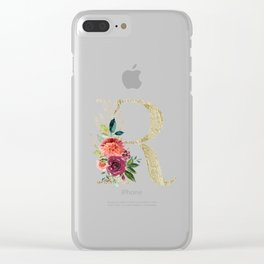 Letter R Monogram Gold and Watercolor Flowers Clear iPhone Case