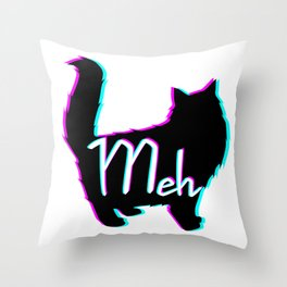 Meow = Meh Throw Pillow
