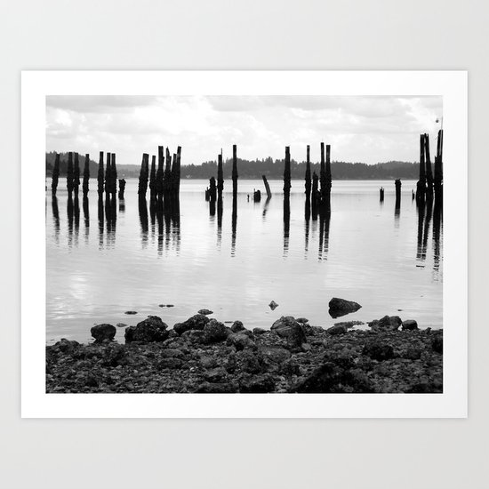 Waterfront Park in Black and White Art Print