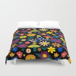 60's Country Mushroom Floral in Black Duvet Cover