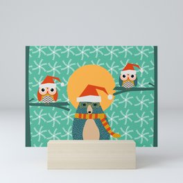 Christmas bear and two little owls Mini Art Print