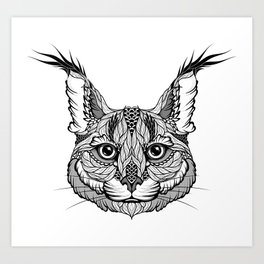CARACAL / LYNX head. psychedelic / zentangle style Art Print