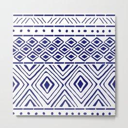 African Mud Cloth // Blue Metal Print