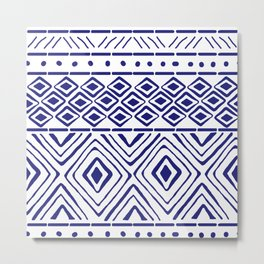 African Mud Cloth // Blue Metal Print