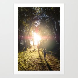 Woman hiking along an Oregon forest trail at sunset Art Print