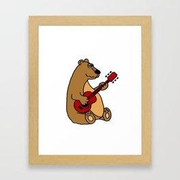 Funny Cute Brown Bear Playing Guitar Art Original Framed Art Print